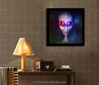 High imitation LED lights canvas painting hangs on sitting room wall art with solid wood mixed batch of aliens photo frame