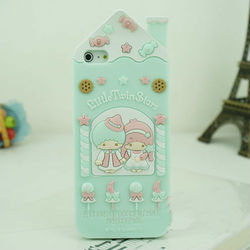 cell phone rubber cover cute 3D House of Cookies Candies soft silicone case for iphone 5 Green