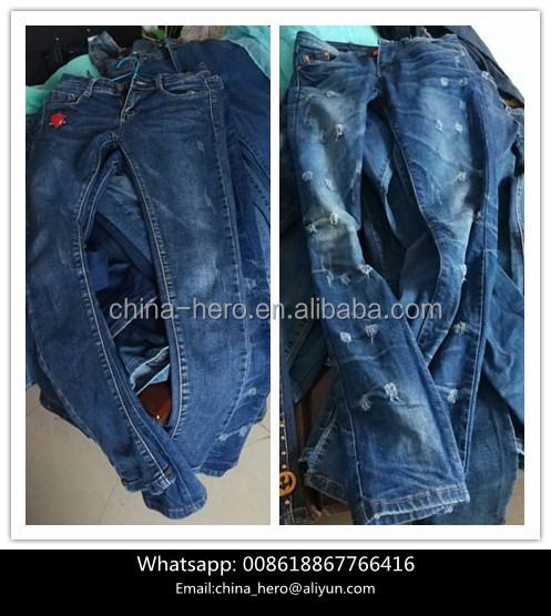 Wholesale used clothing women pant jeans slim ladies jeans second hand clothing