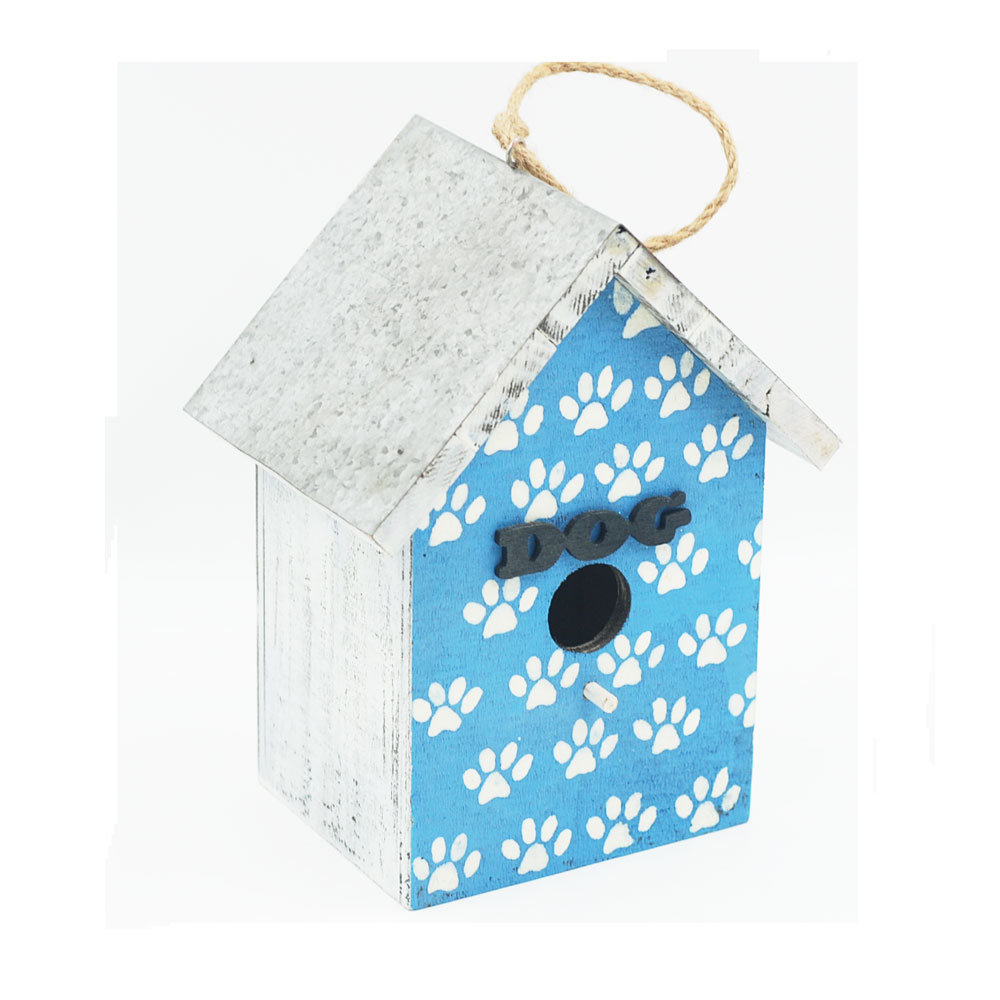 Every day crafts small wooden dog print decorative metal bird cages