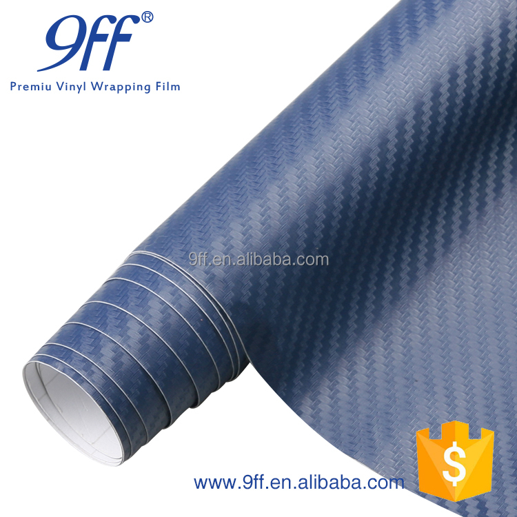 1.52*30m 3D carbon fiber vinyl blue sticker with air bubble free