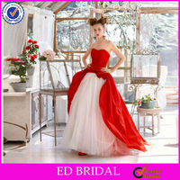 EW75 Italian Style Attractive Ball Gown Red And White Wedding Dresses