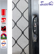 Superwu top quality hot sale grills design decorative with fly screen sliding door