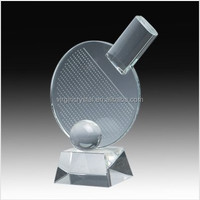 Wholesale Laser Engraved Table Tennis Racket Crystal Trophy Plaque with Clear Base as Office Table Decoration