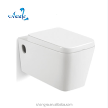 European style square wall hanging wc toilet cheap wall hang toilet with slow close seat cover
