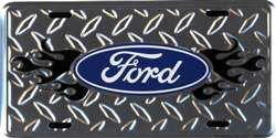 Ford Flame Diamond Plate Embossed Wholesale Metal Novelty License Plate Tag Sign - 50135