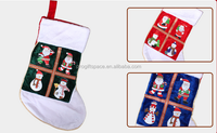 New premium three colors of Santa Claus snowman pattern the polyester stocking hanger holder set felt Christmas socks decoration