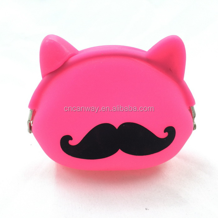 print mustache design coin wallet silicone coin holder