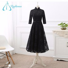 New Fashion High Neck Black Long Sleeve Lace Prom Dress