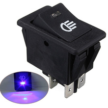 Audew Hot Sale Universal Blue Fog Light Lamp Rocker Switch LED For Car Truck Boat Dash Dashboard 12V 35A