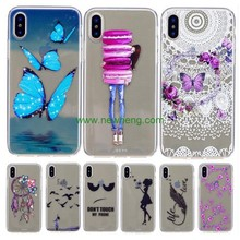 Custom Color Painting Relief Crystal Clear Soft Tpu case for iphone X
