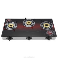 Kitchen Cabinet Top Glass Gas Stove with 3 Gas Burner Manufacturer