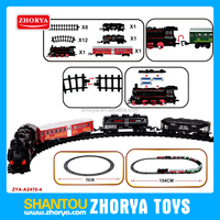 Russian packing High quality plastic Classical electric train model and Battery operated railway toys set with music and light