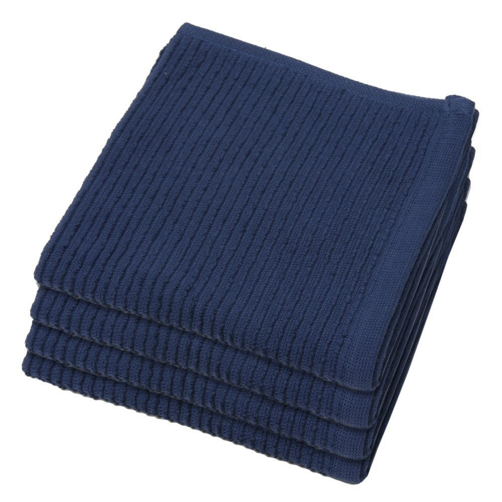 13 x13 Inch Top Quality Blue Ripple Wholesale Cotton Dishcloth