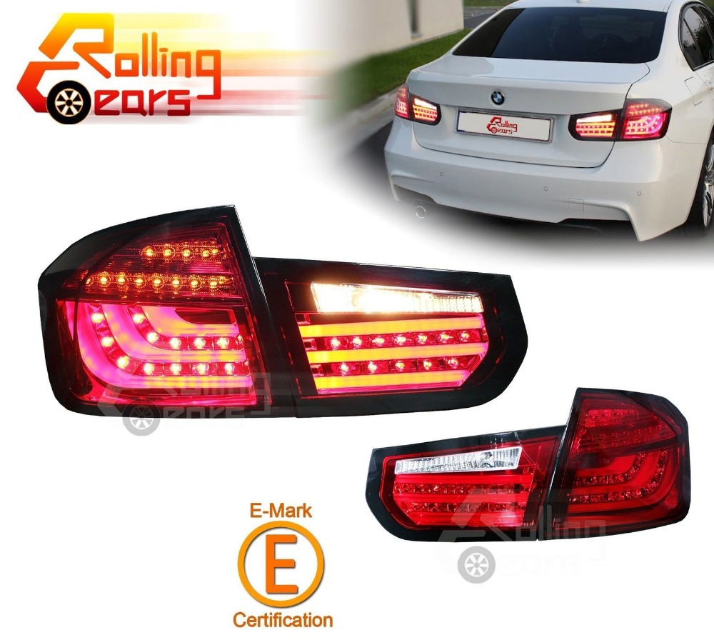 RED w/LED Light Bar Tail Light for 2013 14 2015 BMW F30 3Series 320i 328i 335i Sedan