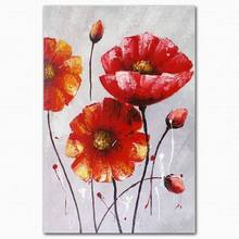 100% handpainted canvas art abstract beautiful red lotus flower pond oil painting