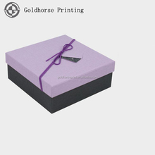 Durable Chinese Factory Strong Cardboard Gift Box Purple Gift Paper Decorative Boxes with Ribbon Handle Father's Day Promotion