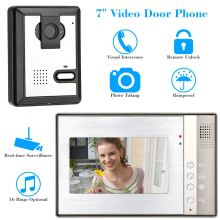 "7"" Color TFT Video Door Phone Home Security Visual Video Intercome Unlock Doorbell Rainproof Door Phone CCTV Camera Monitor"