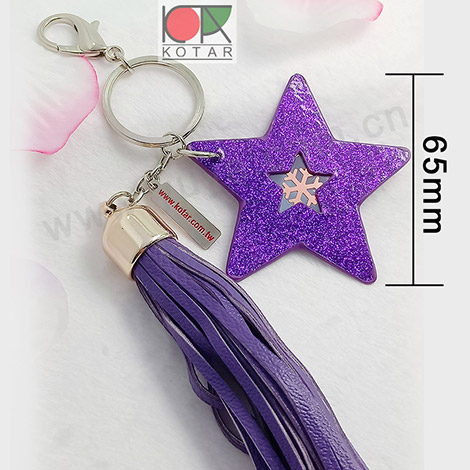 Fashionable handmade decorative artifical PU leather tassel keychain