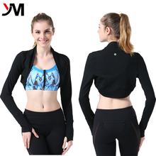 New Fashion Long Sleeve Women Workout Top Cropped Design Half Jacket
