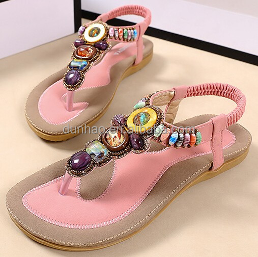 Hot sale beaded summer bohemia sandals ladies flat sandals