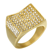 HIP Hop Micro Pave Rhinestone Iced Out Bling 18ct Gold IP Plated Titanium Stainless Steel Rings for Men Jewelry