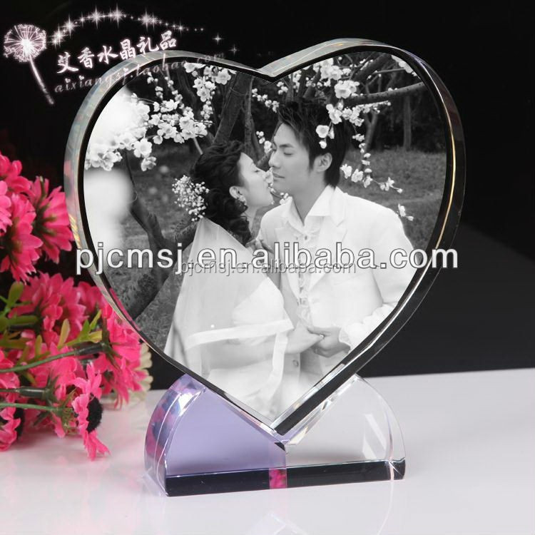 3d laser crystal gifts , heart shape crystal photo ,love crystal printing for wedding gifts