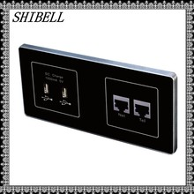 SHIBELL customize hotel room USB socket outlet with LAN&telephone socket