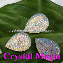 ab color crystal resin stone for dress, fancy tear drop sewing rhinestone