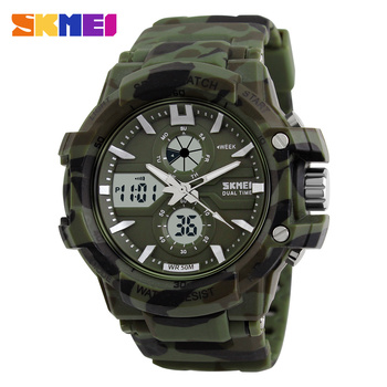 Multi function outdoor sport double movement Camo color military watch
