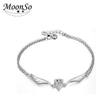 MOONSO 2016 Fashion Elegant Rodium Plating Rhinestone CZ Anklet Bracelet Body Jewelry AA209