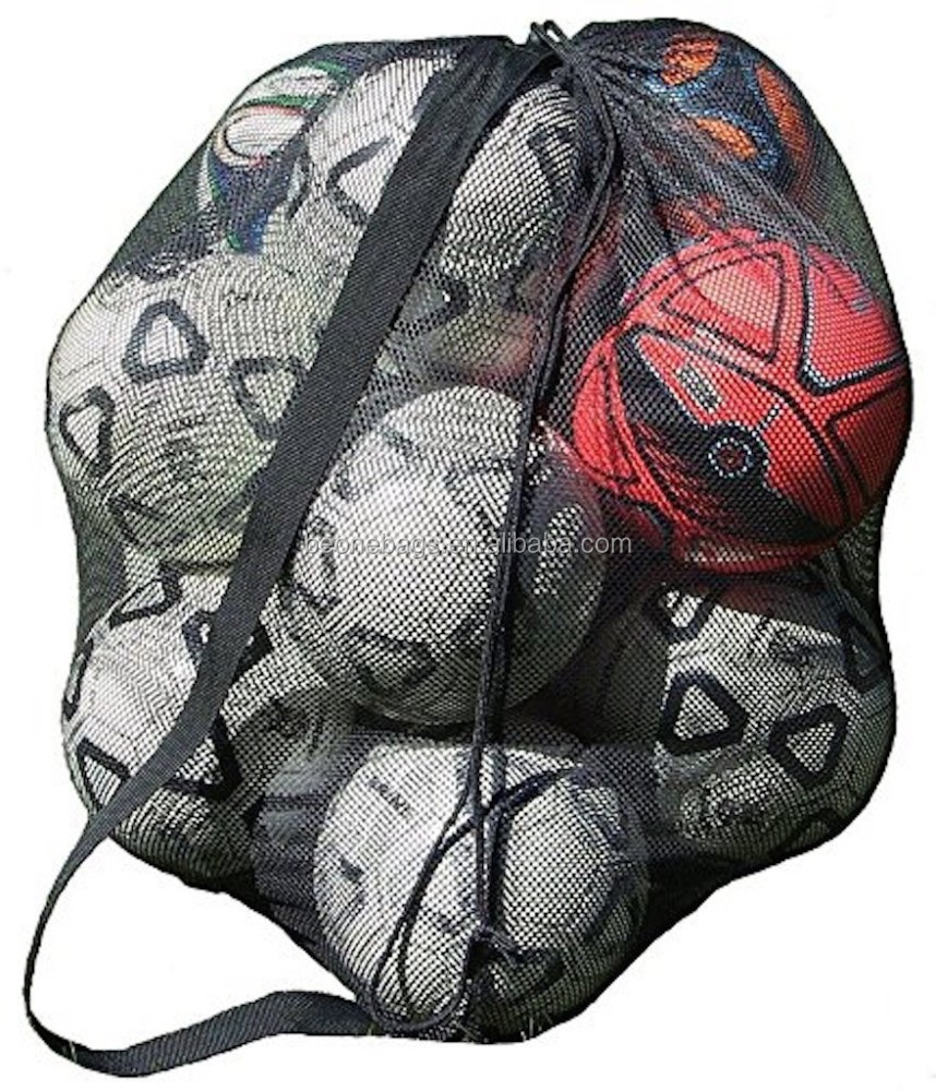 Heavy Duty Drawstring Closure Mesh Ball Bag with Should Strap