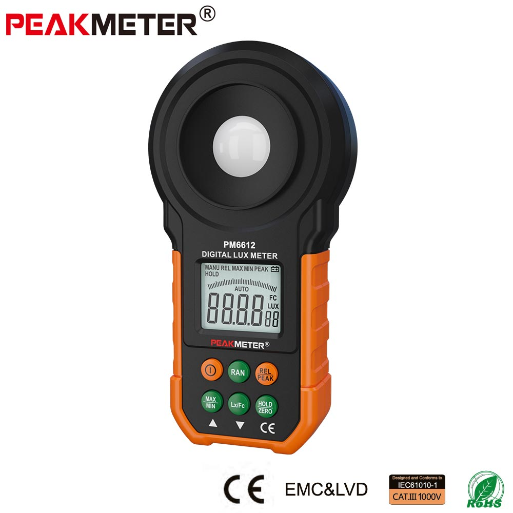 Intelligent Digital Photometer Luminometer tester MS6612 with large LCD,cheap light illuminance lux meter for LED
