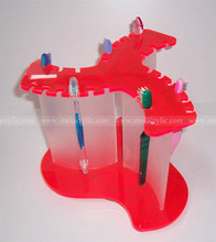 Fluorescent Red and Frosted Colgate AcrylicToothbrush Display, Lucite Toothbrush Stands
