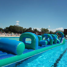 Outdoor swimming pool inflatable obstacle course, water fun amusement attraction
