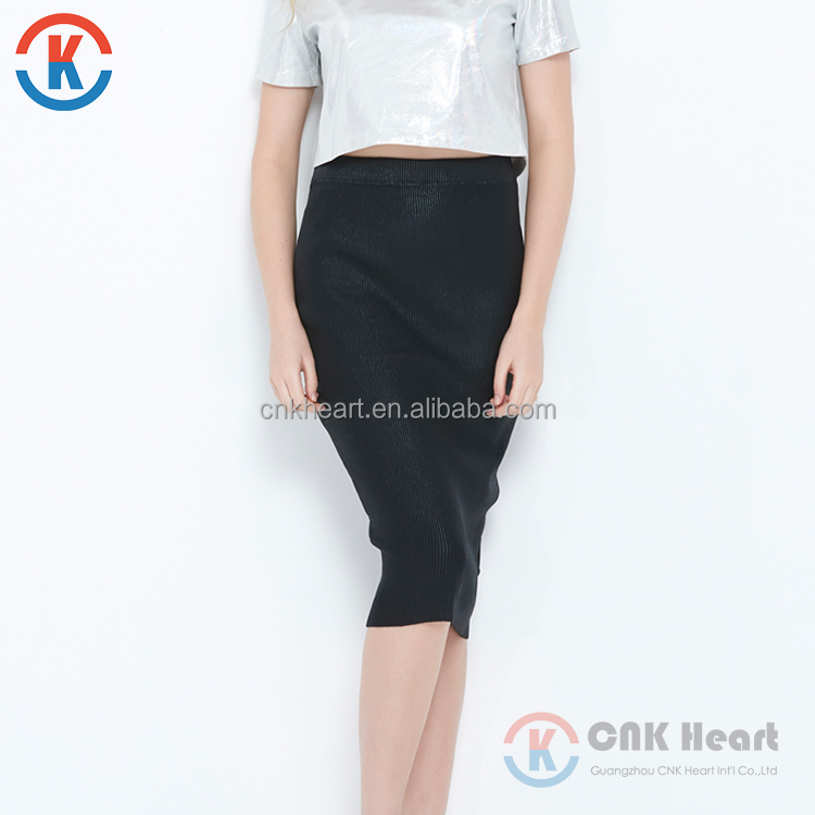 OEM new fashion black high waist slim women long skirt for wholesale