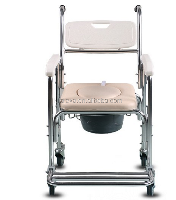 KA-WR000307 Medical equipment Aluminum alloy hospital disabled bedside folding toilet bath chair wheelchair commode chair