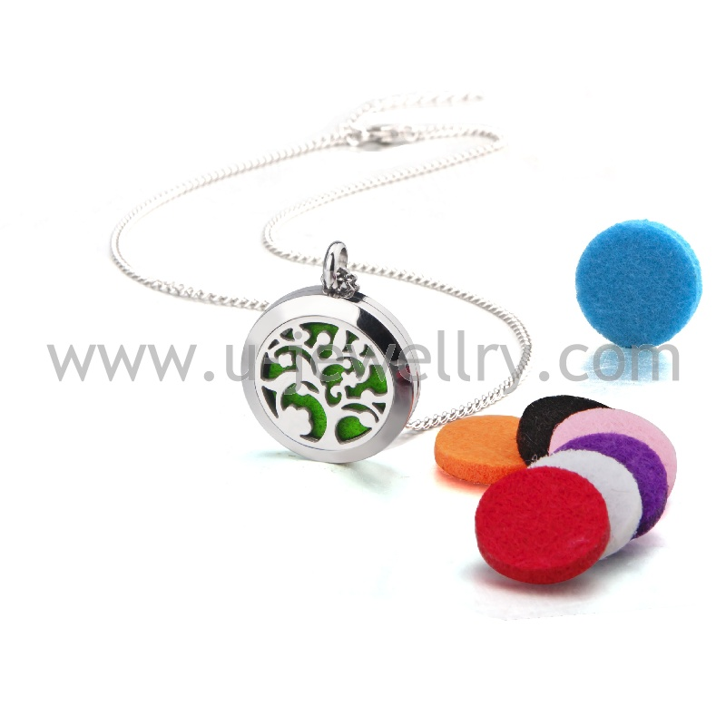 Fashion cool fancy Magic flower aromatherapy diffuser necklace pendant stainless steel essential oils locket with Felt Pads