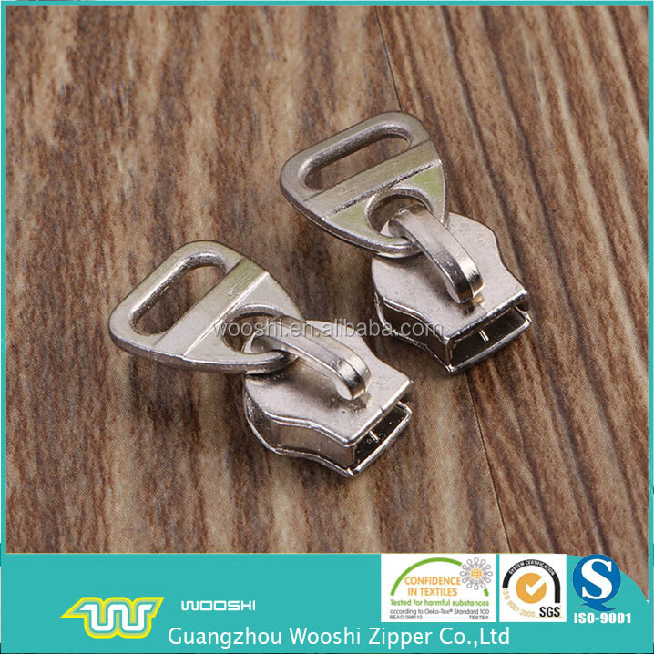 Wooshi Zipper manufacturer barrel plating nickel non lock 5# zips slider with regular zipper puller for wallets