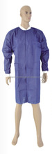 Disposable cheap long sleeve non-woven blue ot gown for visitors