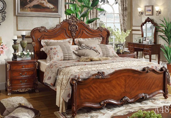 100% hand carve <strong>oak</strong> <strong>wood</strong> fancy no folding luxury bed furniture A48