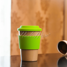 Eco Travel Coffee Mug Rice Husk Fiber Cup with Silicone Lid for Tea and Milk 435 ml