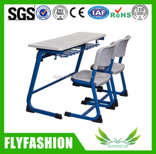 Cheap strong metal wooden double professional classroom student desk and chair furniture