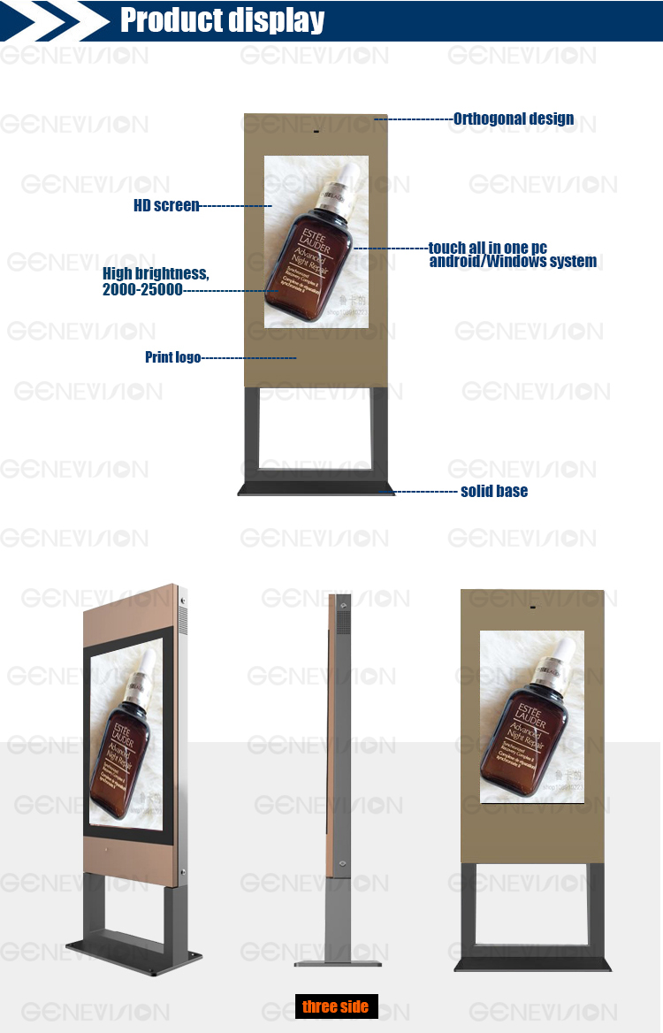 55inch high brightness lcd display advertising player digital signage
