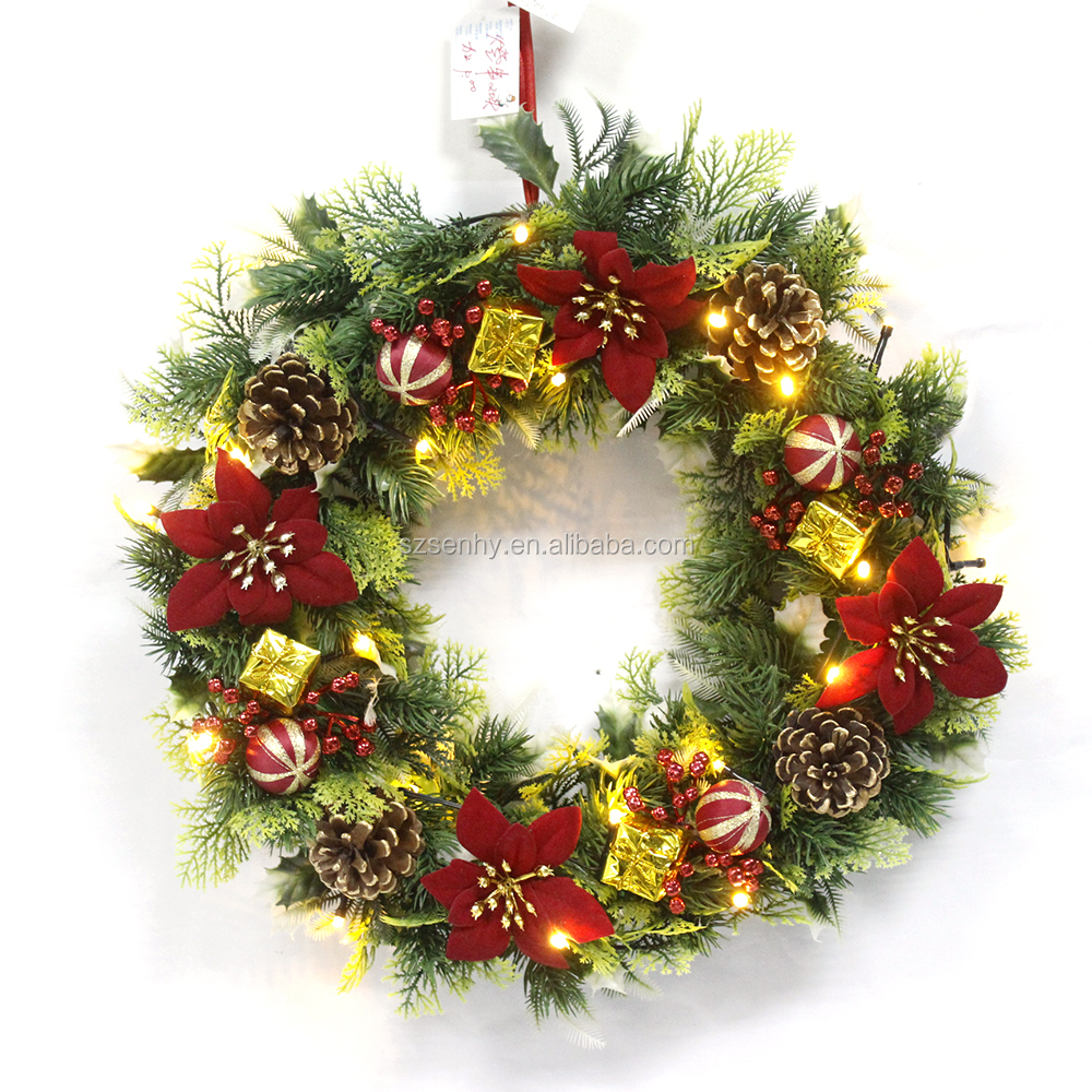 Indoor christmas led battery twig operated wreaths