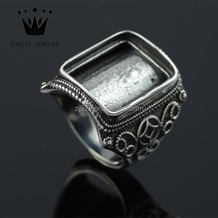 Men's 925 Sterling Silver Jewelry Adjustable Finger Ring Base For Gemstone Inlay