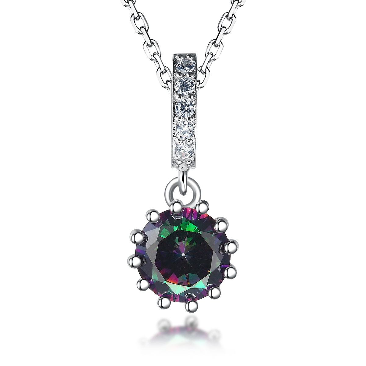Wedding Party Jewelry Fancy Round Synthetic CZ Pendant