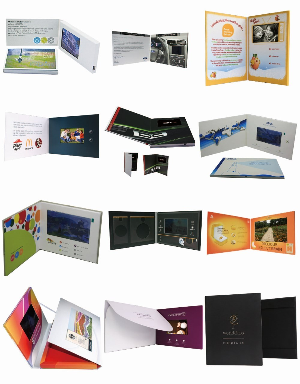 Wedding invitation business video player hd greeting promotion lcd video brochure card
