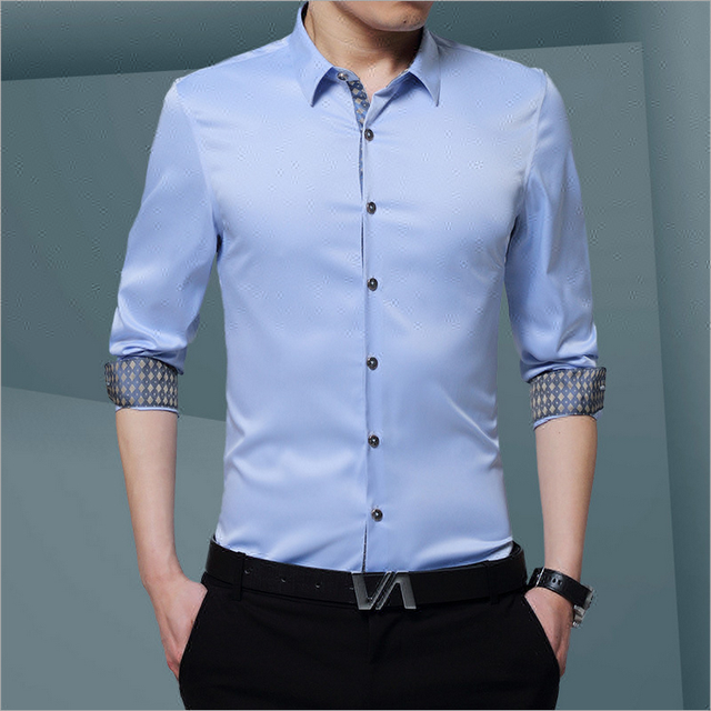 men polo business shirt long sleeves casual shirt button down slim fit dress shirts