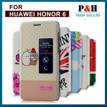 Paint flag flower LEATHER WALLET CASE with open window For Huawei Honor 6X Honor 6 Plus